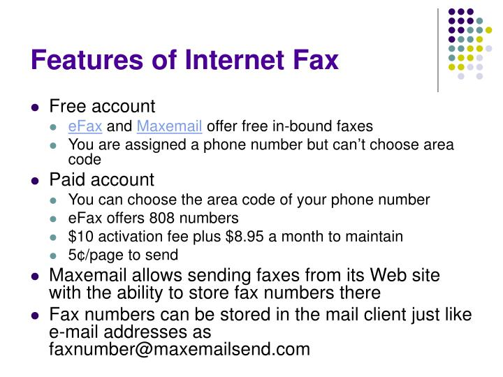 Features of Internet Fax