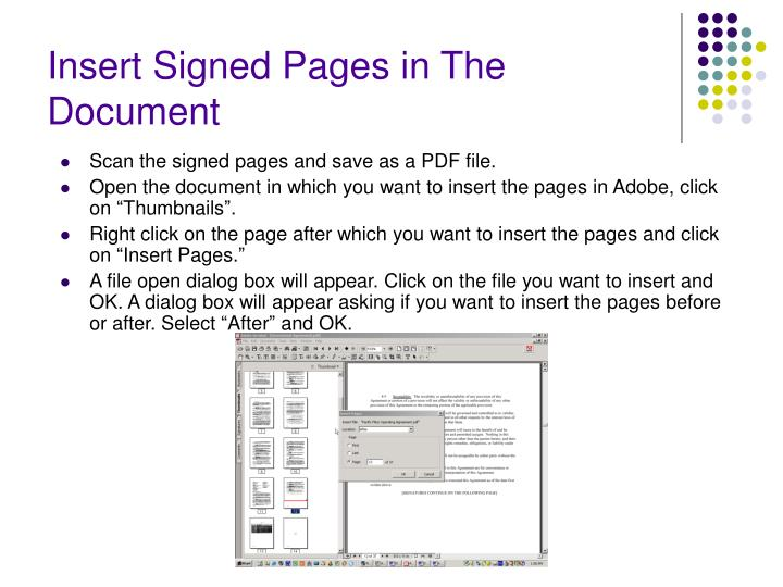 Insert Signed Pages in The Document