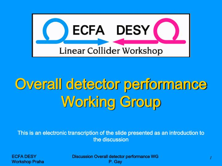 Overall detector performance working group