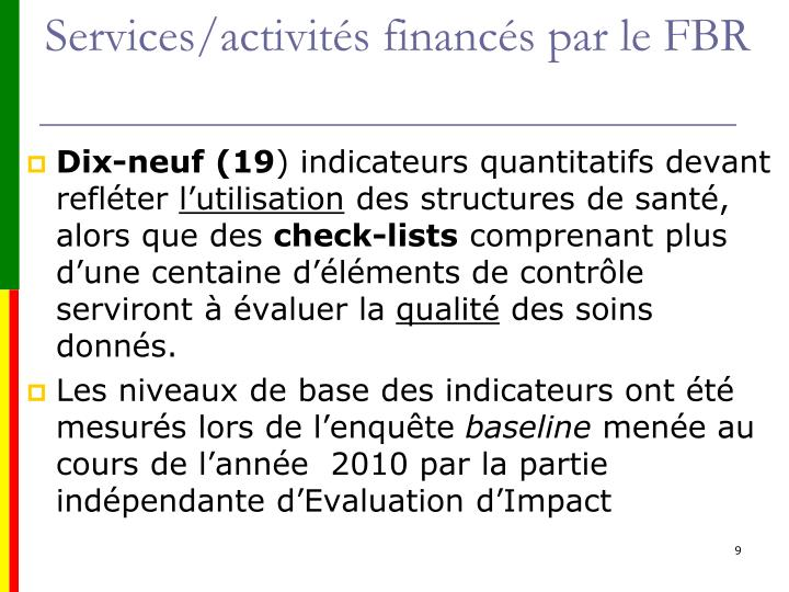 Services/activités financés par le FBR