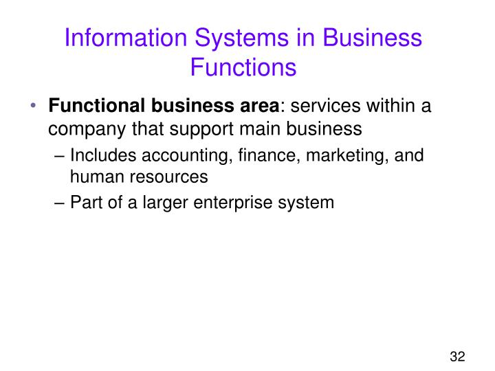 Information Systems in Business Functions