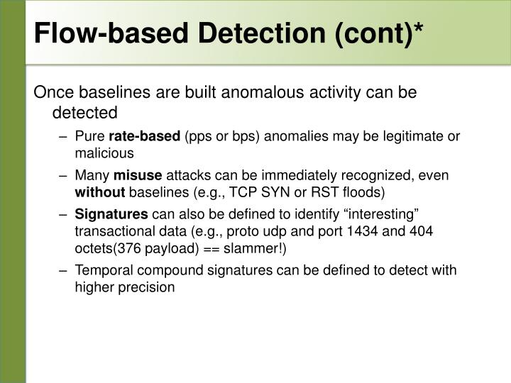 Flow-based Detection (cont)*