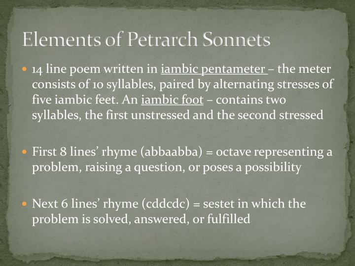 Elements of Petrarch Sonnets