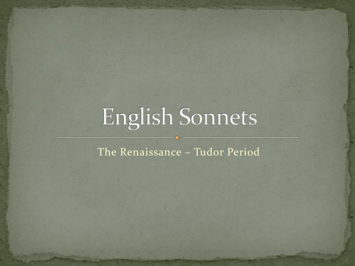 English sonnets
