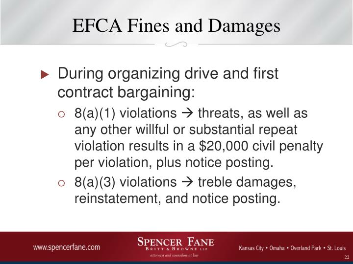 EFCA Fines and Damages