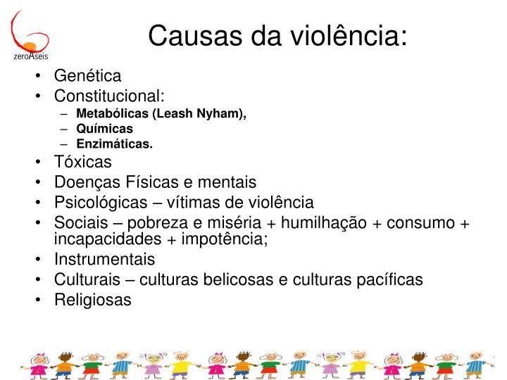 Causas da violência: