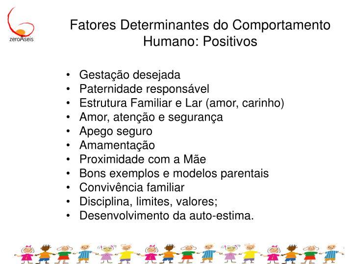 Fatores Determinantes do Comportamento Humano: Positivos