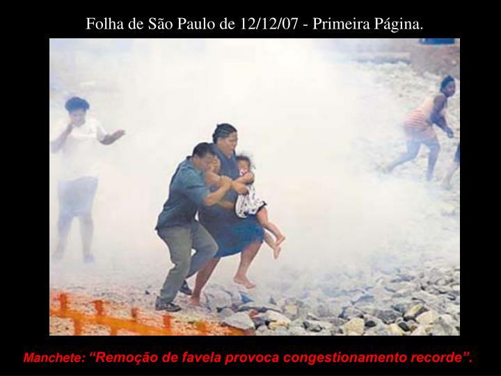 Folha de São Paulo de 12/12/07 - Primeira Página.