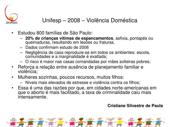 Unifesp – 2008 – Violência Doméstica