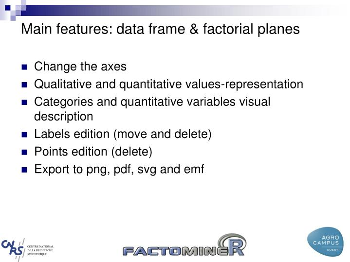 Main features: data frame & factorial planes