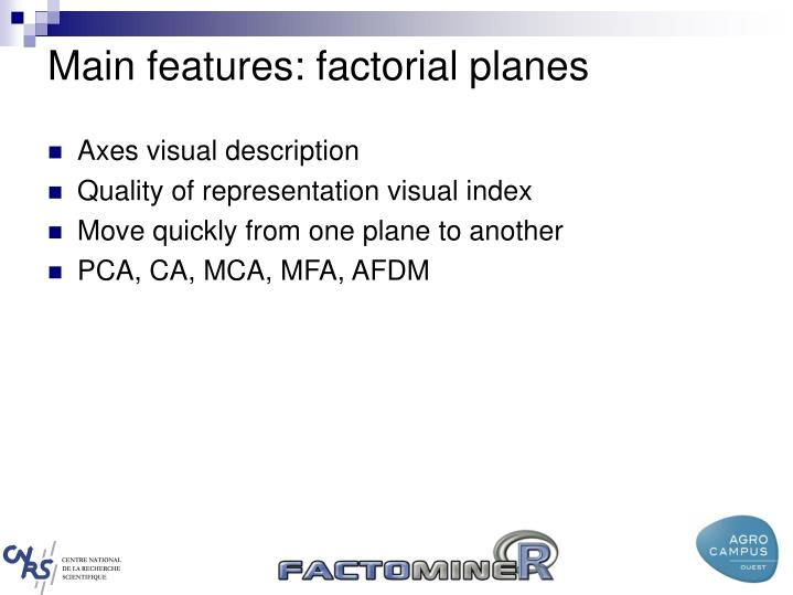 Main features: factorial planes