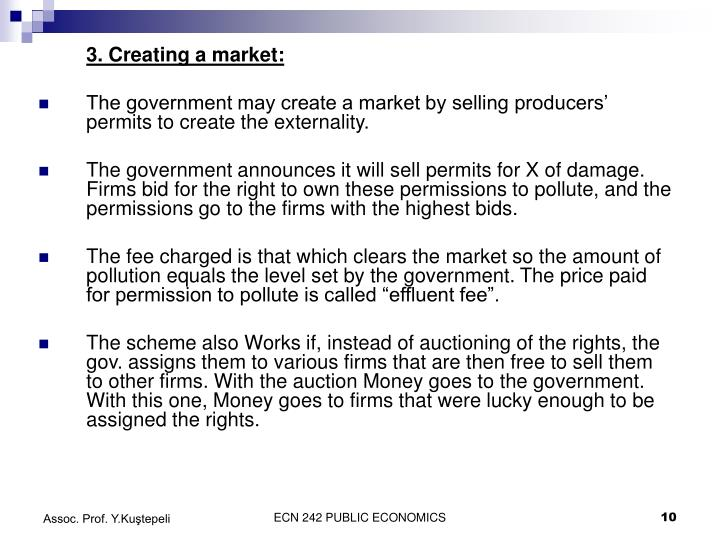 3. Creating a market: