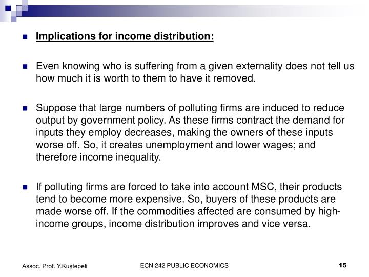Implications for income distribution:
