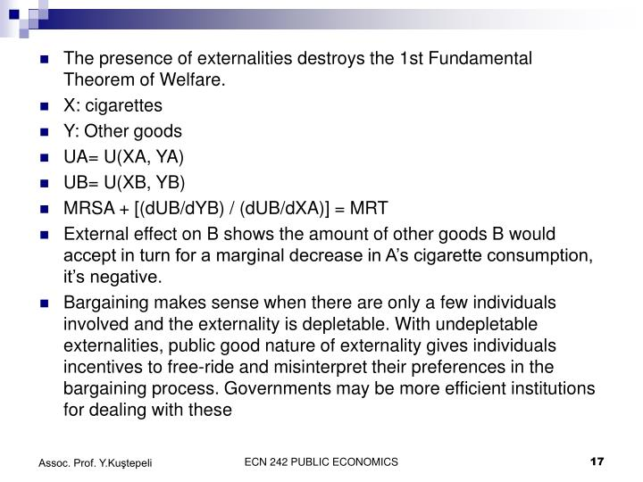 The presence of externalities destroys the 1st Fundamental Theorem of Welfare.