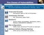 five classes of vulnerabilities