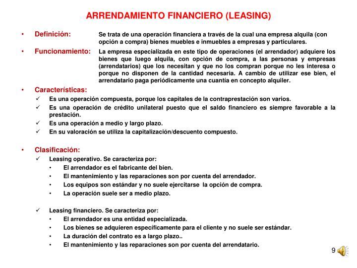 ARRENDAMIENTO FINANCIERO (LEASING)