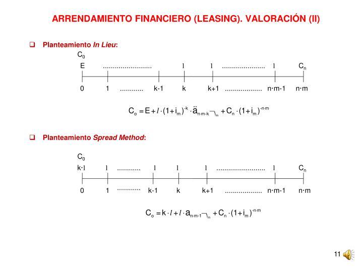 ARRENDAMIENTO FINANCIERO (LEASING). VALORACIÓN (II)