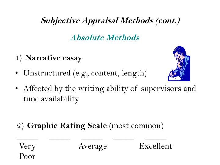 essay appraisal method used Forced choice method 11 essay appraisal the modern methods are as follows: 1 assessment centre 2 behaviourally anchored rating.