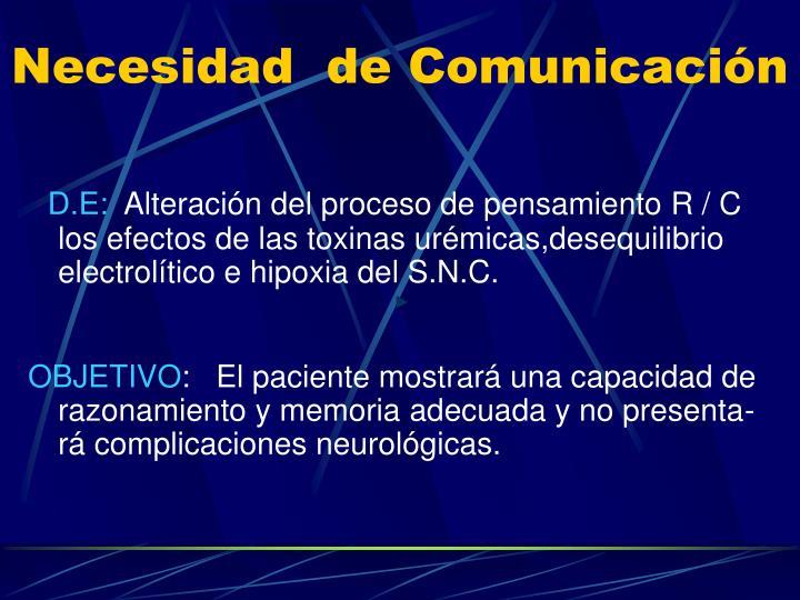 Necesidad  de Comunicación