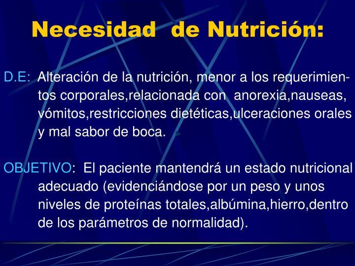 Necesidad  de Nutrición: