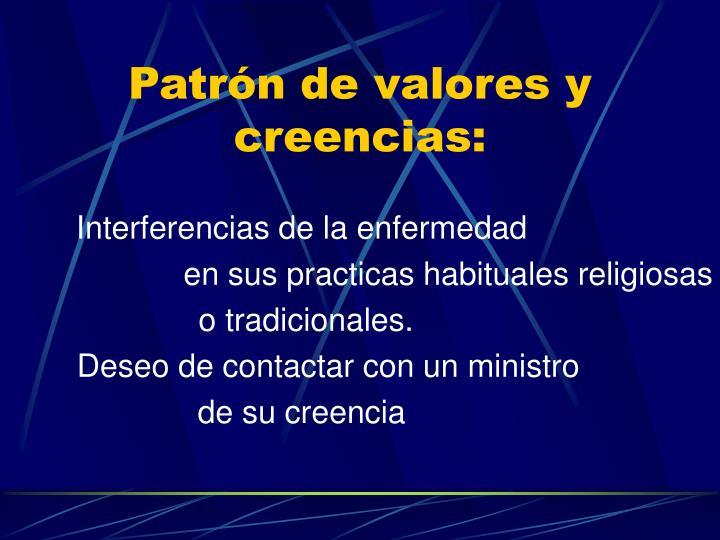 Patrón de valores y creencias: