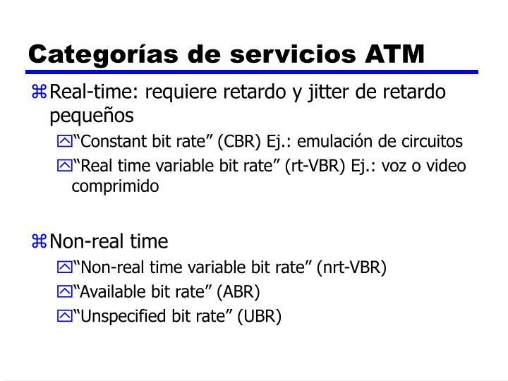 Categorías de servicios ATM