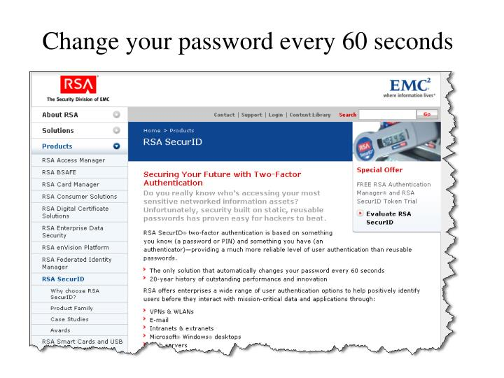 Change your password every 60 seconds