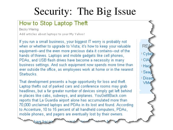 Security:  The Big Issue