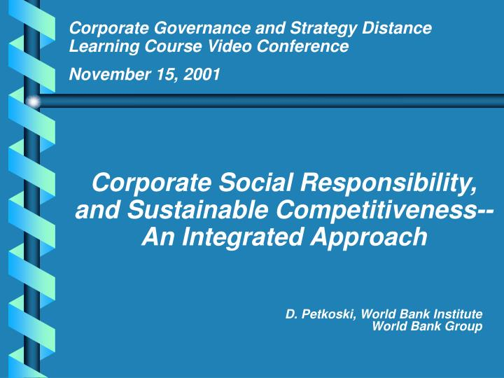 Corporate Governance and Strategy Distance Learning Course Video Conference
