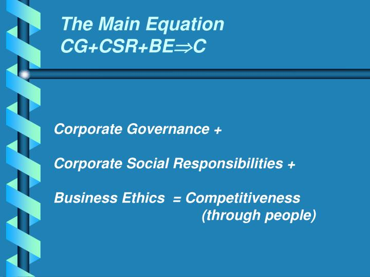 The main equation cg csr be c