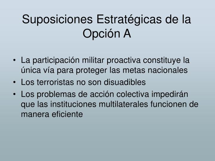 Suposiciones Estratégicas de la Opción A