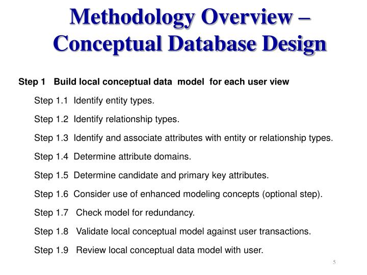 Methodology Overview –  Conceptual Database Design