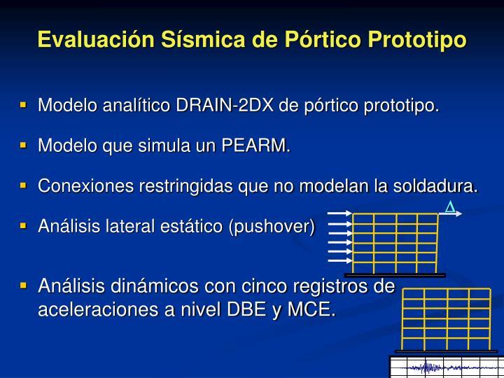 Modelo analítico DRAIN-2DX de pórtico prototipo.