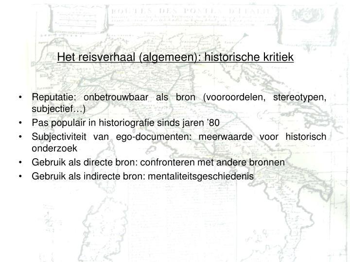 Het reisverhaal (algemeen): historische kritiek
