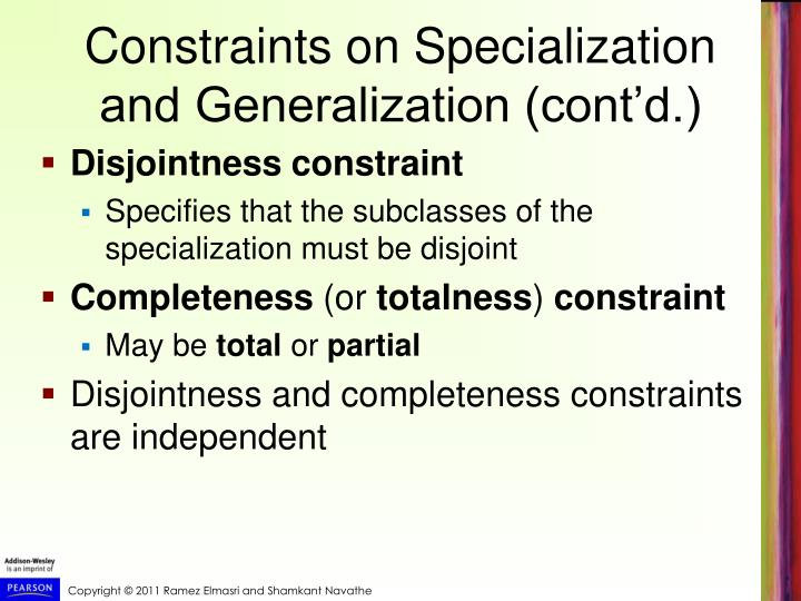 Constraints on Specialization and Generalization (cont'd.)