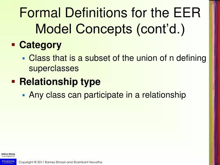 Formal Definitions for the EER Model Concepts (cont'd.)