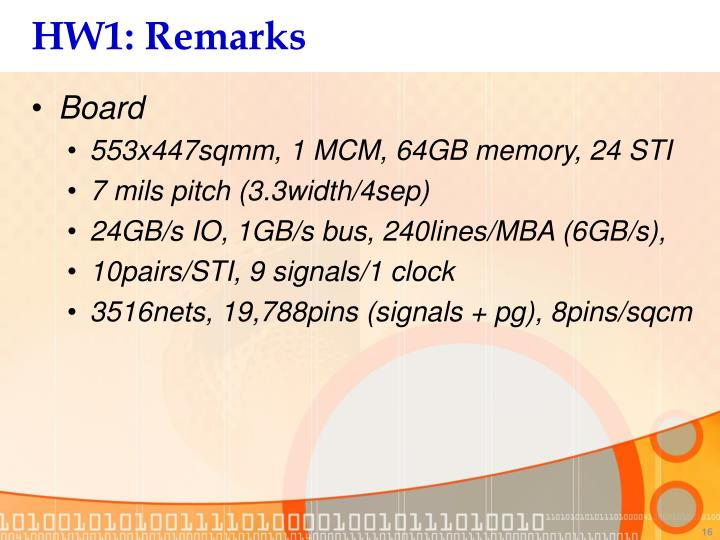 HW1: Remarks
