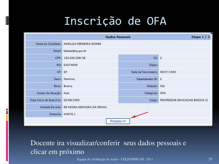 Inscrição de OFA