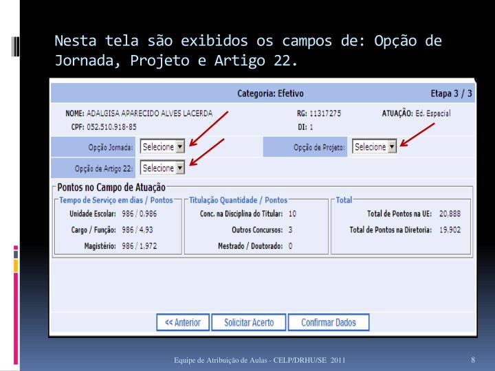 Nesta tela são exibidos os campos de: Opção de Jornada, Projeto e Artigo 22.