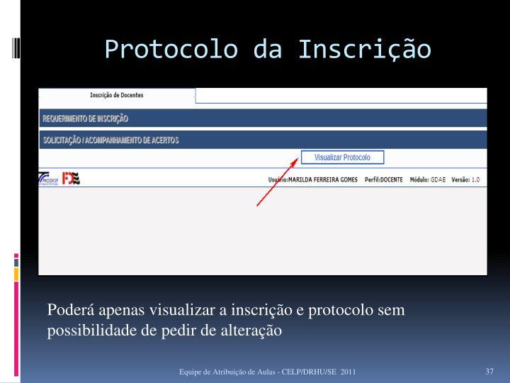 Protocolo da Inscrição