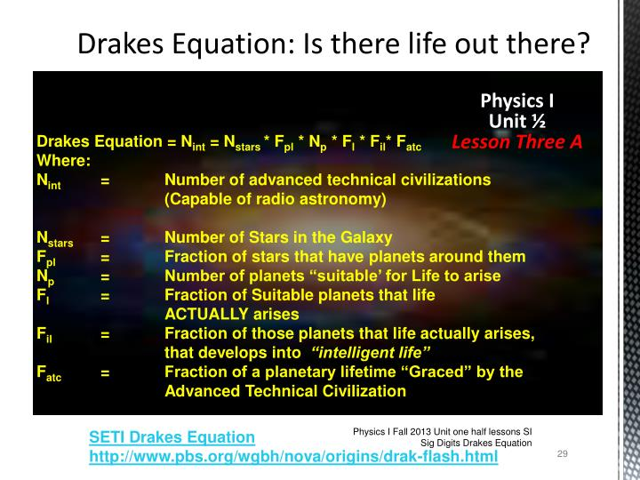 Drakes Equation: Is there life out there?