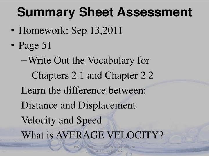 Summary Sheet Assessment