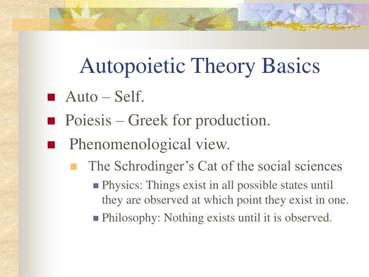 Autopoietic Theory Basics