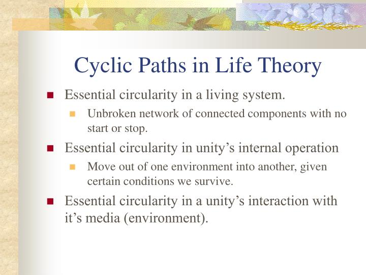 Cyclic Paths in Life Theory