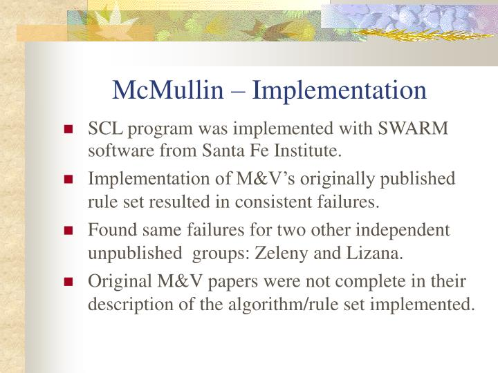 McMullin – Implementation