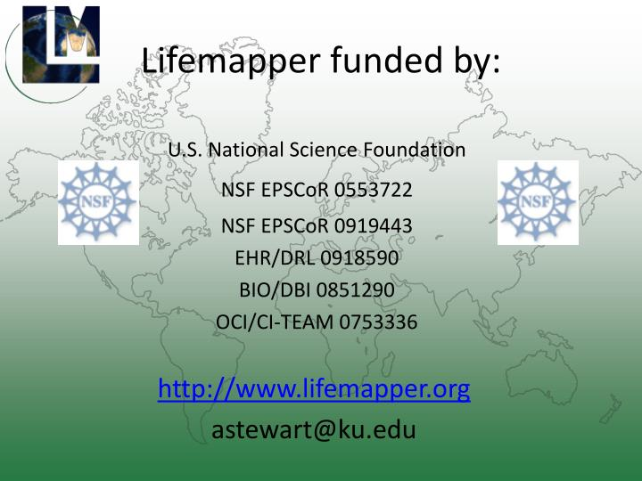 Lifemapper funded by: