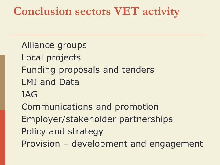 Conclusion sectors VET activity