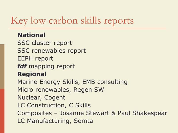 Key low carbon skills reports