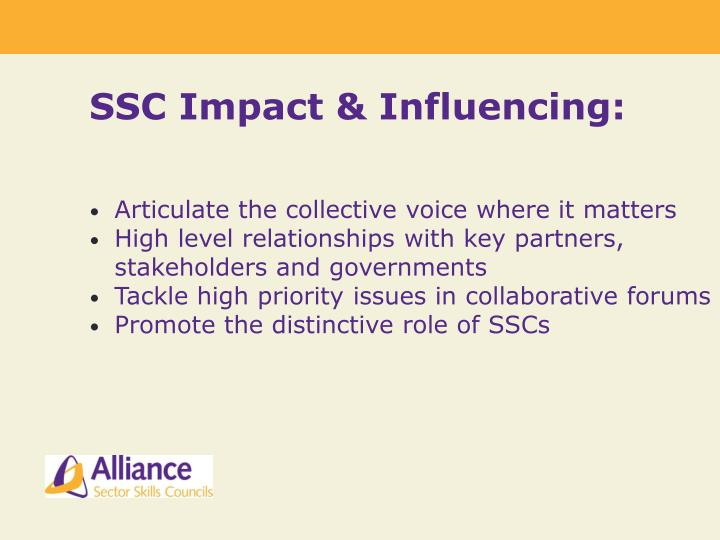 SSC Impact & Influencing: