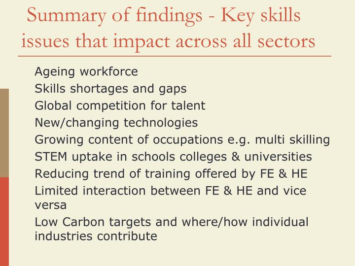Summary of findings - Key skills issues that impact across all sectors